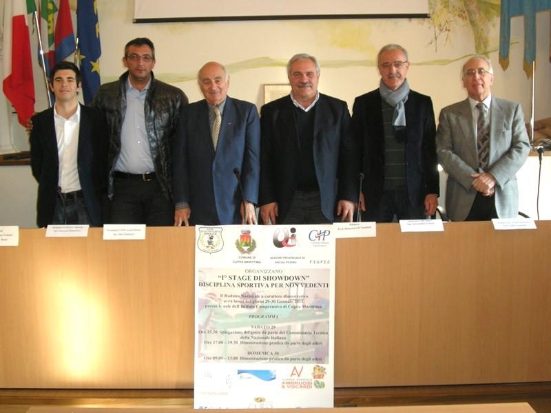 Presentazione Showdown, da sinistra Andrea Rossi, Giovanni Palumbieri, Aldo Sabatucci, Domenico D'Annibali, Alessandro Carosi e Valter Laudadio.