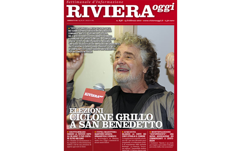 Riviera Oggi, copertina del numero 858 con Beppe Grillo
