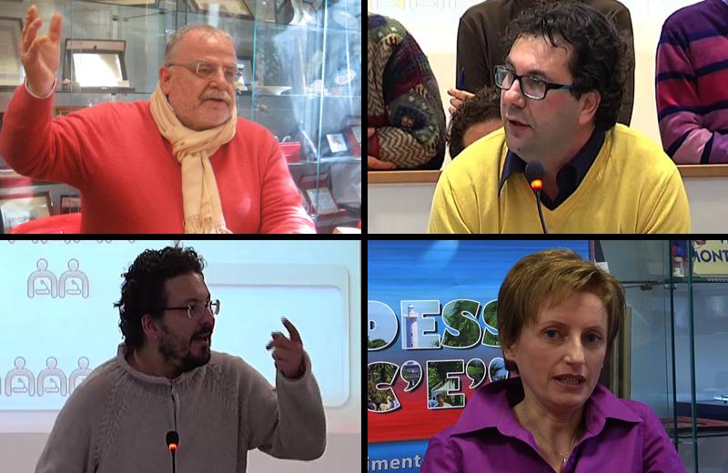 Gli ospiti di YouRiviera, venerdì 18 febbraio. In senso orario a partire dal primo in alto a sinistra: Girolami, Spadoni, Ferritto, Primavera