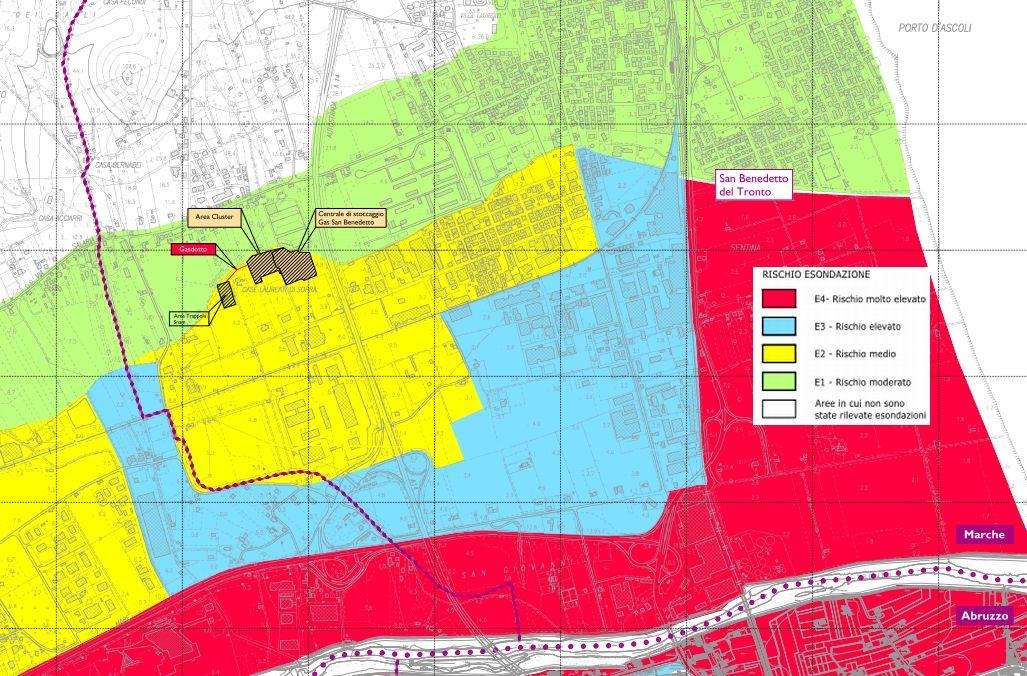 La mappa del rischio di esondazione in zona Agraria