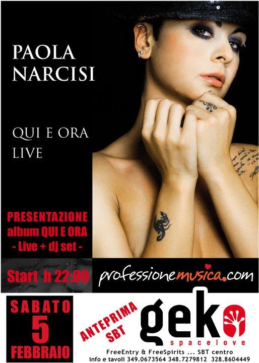 Paola Narcisi in una foto artistica utilizzata per la locandina del concerto