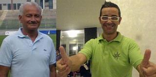 il presidente del Centobuchi Amedeo Pelliccioni con il  tecnico Stefano Nico al momento della presentazione