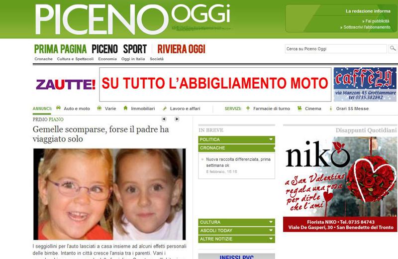 La prima home page di Picenooggi.it, 8 febbraio 2011