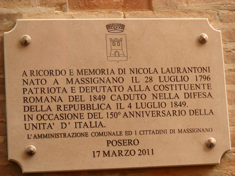 Massignano in festa per il 150° dell'Unità d'Italia: la targa commemorativa di Nicola Laurantoni