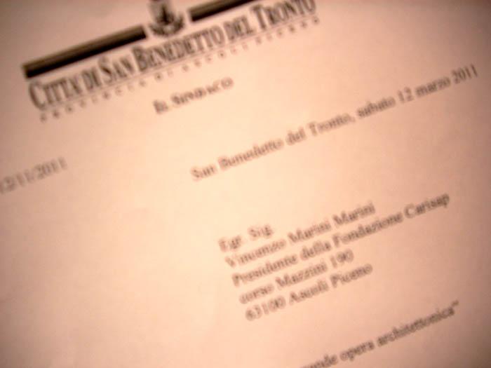 La lettera di Gaspari spedita alla Fondazione