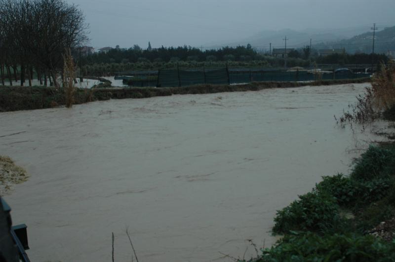 Martedì primo marzo, piove ininterrottamente, il Menocchia esonda (foto Troiani)