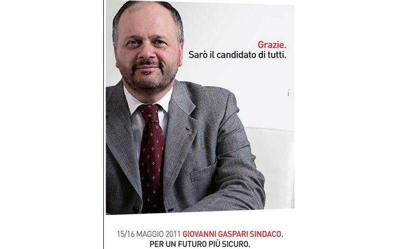 Giovanni Gaspari ringrazia per il voto delle primarie con un manifesto che lancia la sua campagna elettorale