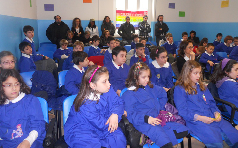 Gli studenti della scuola Leopardi durante il progetto
