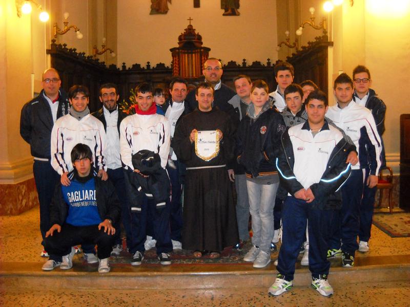 La Rappresentanza della Gagliarda al Santuario di Monteprandone con Padre Marco Buccolini