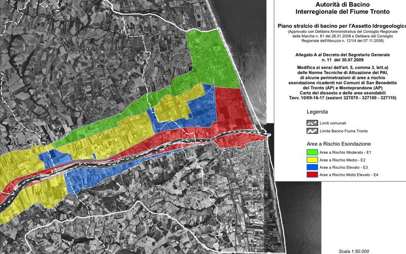 Le aree a rischio esondazione nel Piano di Assesto Idrogeologico dell'Autorità di Bacino del Tronto