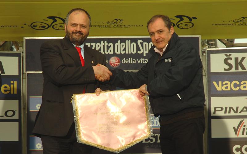 Tirreno-Adriatico 2011, Gaspari con Vegni