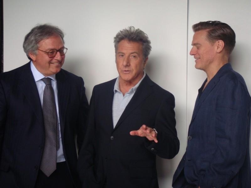 Il presidente Spacca con Dustin Hoffman e Bryan Adams