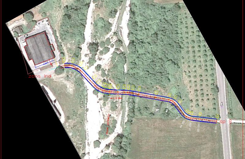 La planimetria del punto dove sarà realizzato il guado