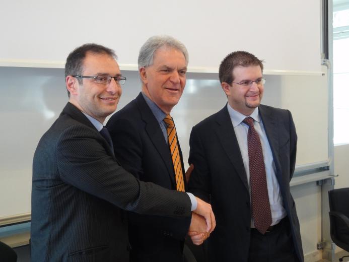 A sinistra Bruno Gabrielli, Piero Celani e Carlo Fidanza