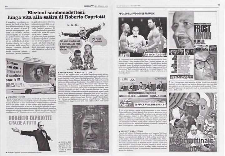 Due pagine di Riviera Oggi dedicate a Roberto Capriotti