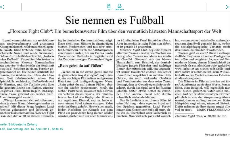 Florence Fight Club, articolo Süddeutschen Zeitung