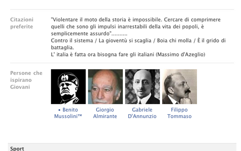 Giacomo Massimiani, la pagina Facebook dei Giovani Tricolori Sbt