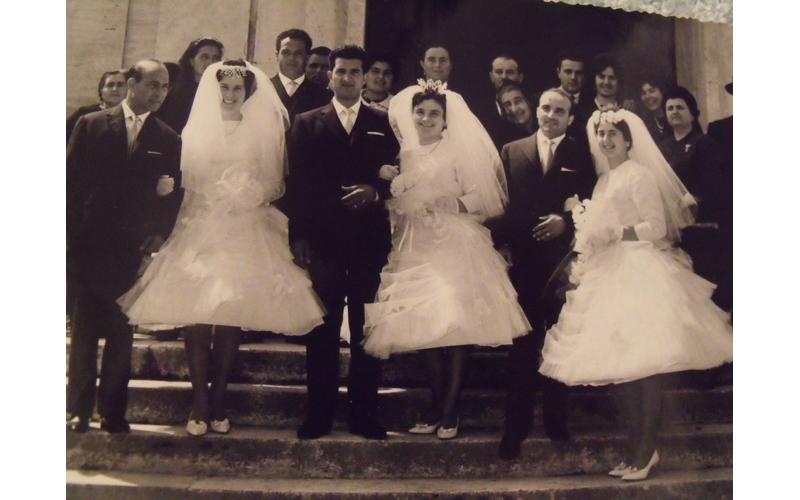 Giuseppe, Leandro e Ida festeggiano 50 anni di matrimonio, si sposarono nella Chiesa di Sant'Antonio a San Benedetto nel 1951 rispettivamente con Liliana Gaetani, Edda Capocasa e Umberto Bruni