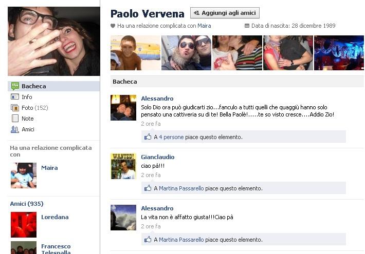 La pagina Facebook di Paolo Vervena