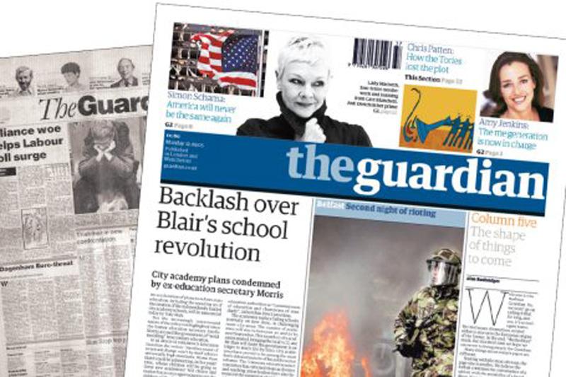 La copertina di The Guardian, uno dei più diffusi giornali inglesi