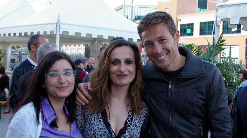 Termoadriatica, l'Open Day per l'inaugurazione del nuovo show room: Elisabetta con una amica e Massimiliano Ossini