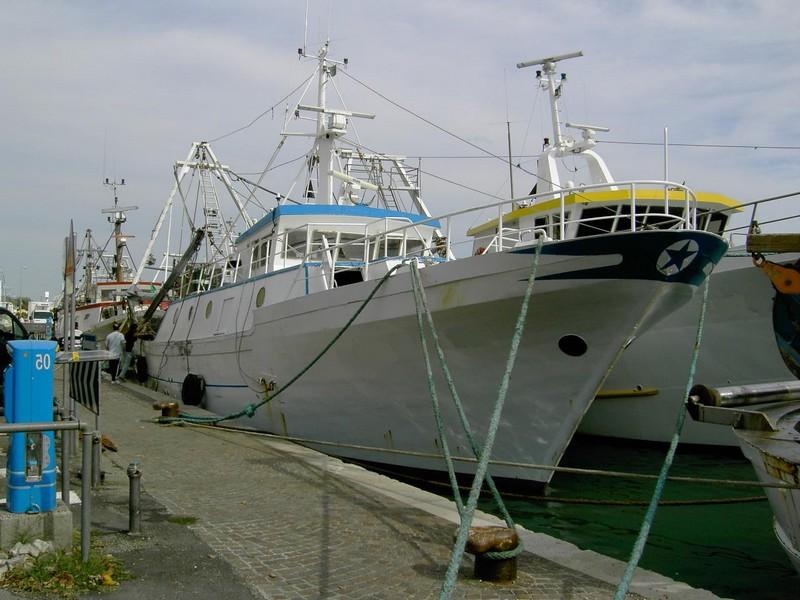 Il motopesca Falco Pescatore attraccato in porto (foto d'archivio)