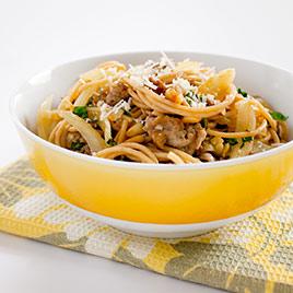 Spaghetti con salsiccia e limone