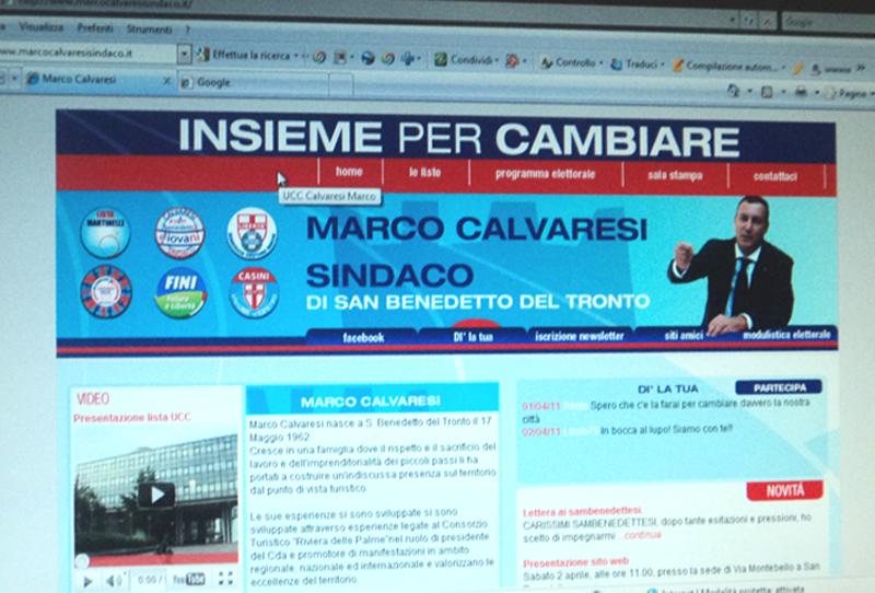 L'home page del sito elettorale di Marco Calvaresi