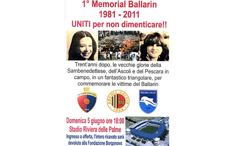 Memorial Ballarin, la locandina con le immagini tragiche del rogo dove perirono le giovani Claudia e Maria Teresa
