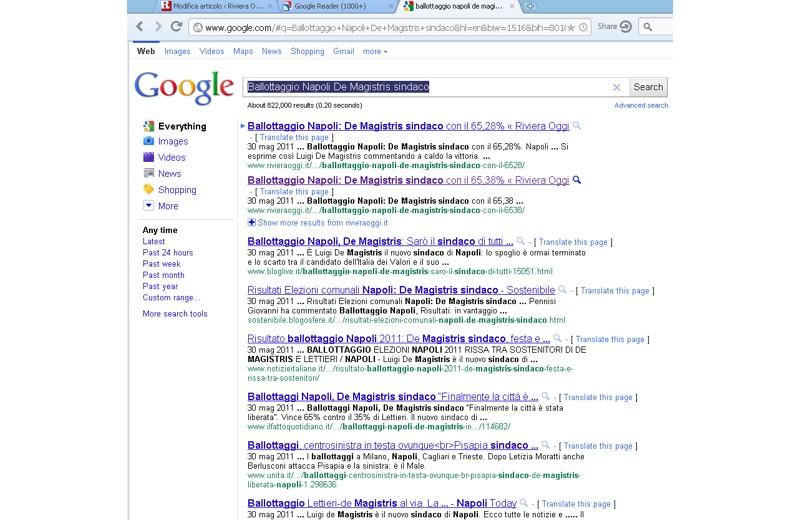 Rivieraoggi su Google con il pezzo su De Magistris