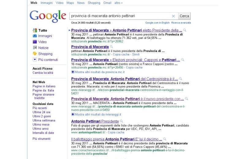 Rivieraoggi su Google con il pezzo su Pettinari
