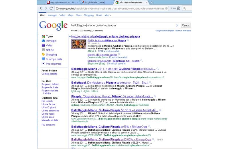 Rivieraoggi su Google con il pezzo su Pisapia