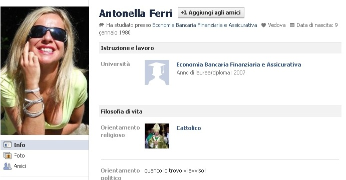 Il profilo Facebook di Antonella Ferri