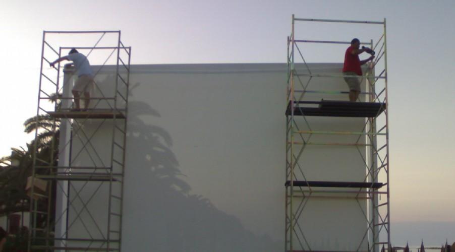 Montaggio telo Cinema sul Mare