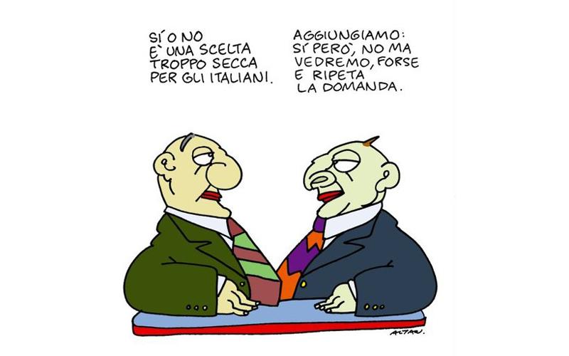 Una simpatica vignetta di Altan sui referendum
