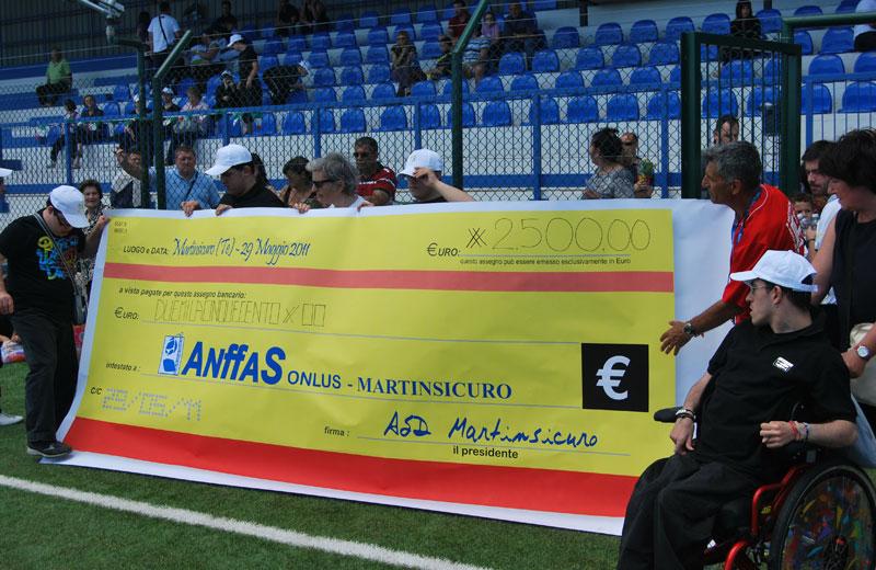 I ragazzi dell'Anffas posano con l'assegno simbolico della raccolta fondi di