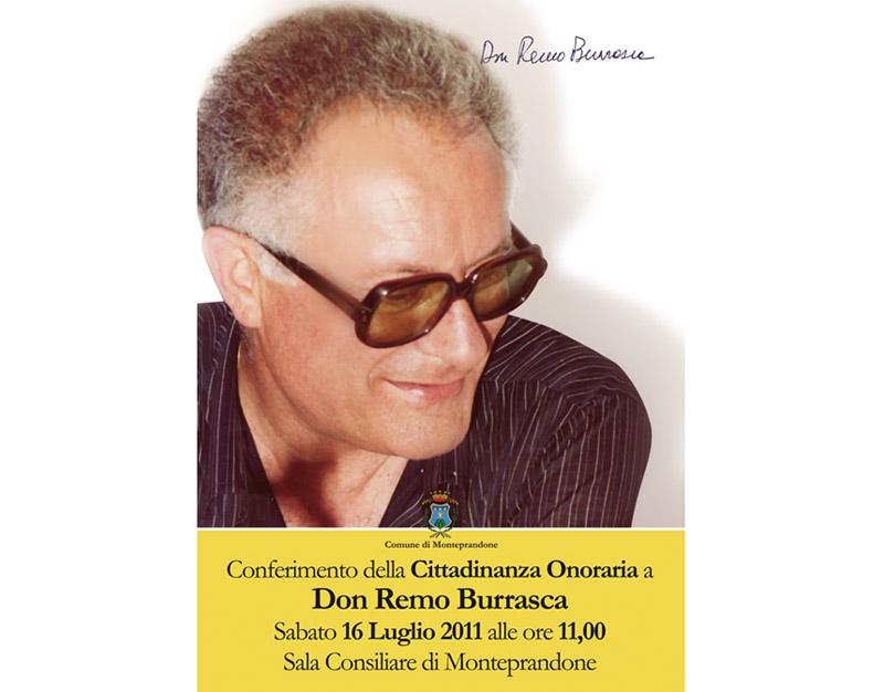Manifesto per la cittadinanza onoraria a Don Remo Burrasca