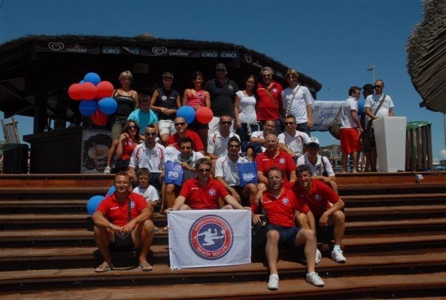 Ostia, premiazioni della final eight della serie A Enel 2011: la felicità dei rossoblu per l'ottimo sesto posto finale nell'Olimpo della disciplina