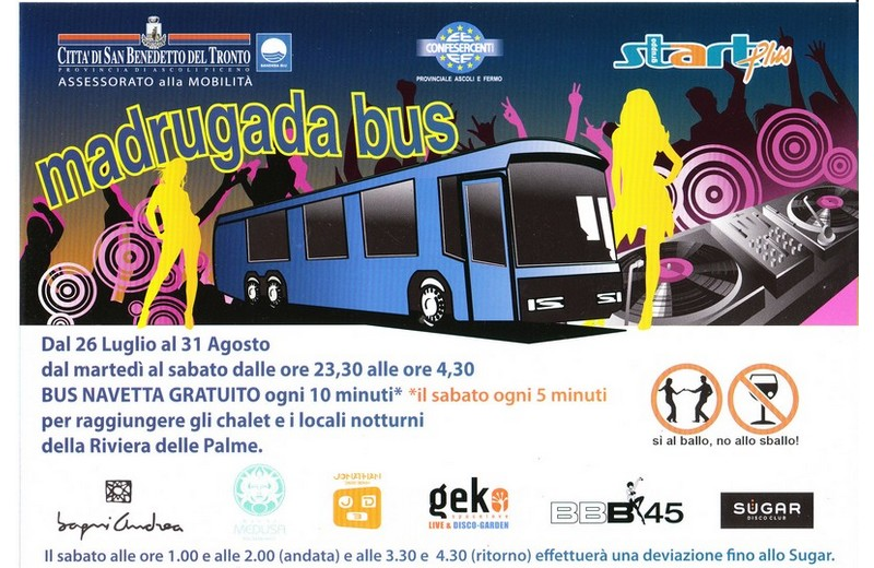 Madrugada bus, autobus gratuiti per la movida sambenedettese: i locali che hanno lanciato l'iniziativa