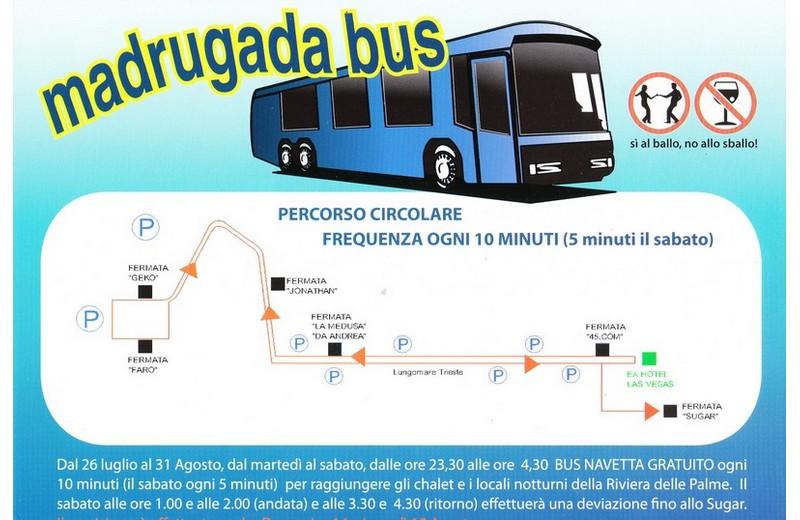 Madrugada bus, autobus gratuiti per la movida sambenedettese: le fermate