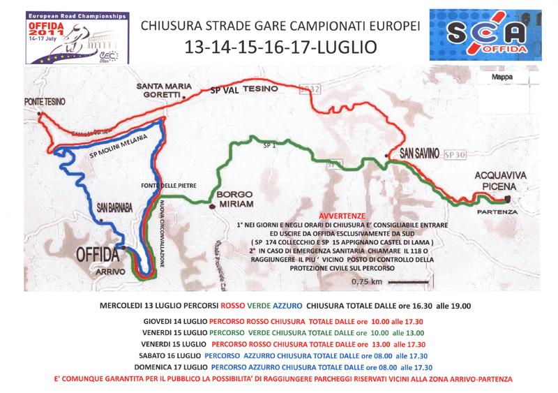 Offida 2011, campionati europei di ciclismo juniores e under 23: tutte le indicazioni sulla viabilità in questa comoda scheda sintetica