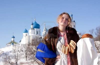 Ragazza in abiti tipici russi