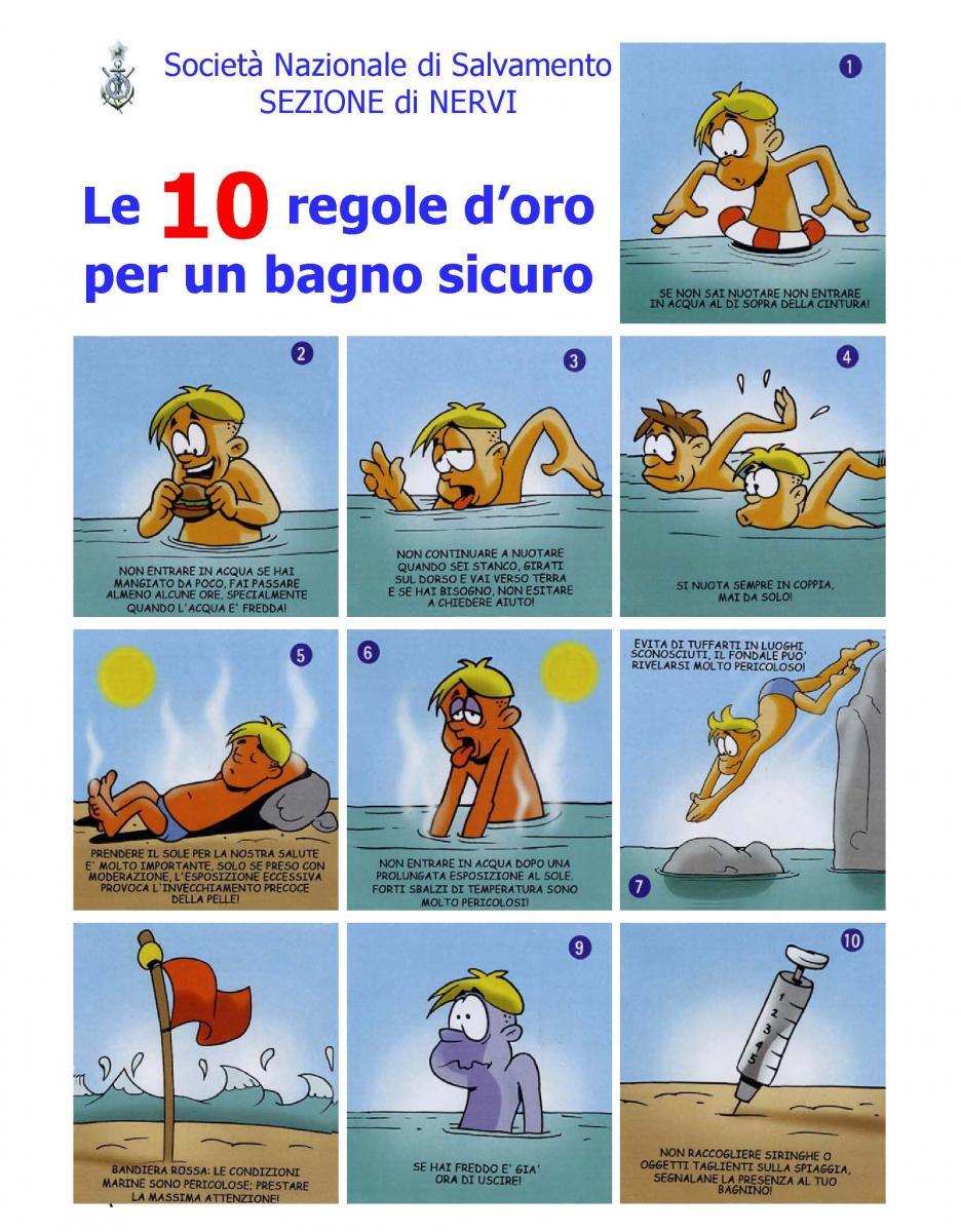 Le 10 regole d'oro per un bagno sicuro
