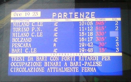 Il monitor delle partenze alla stazione di San Benedetto