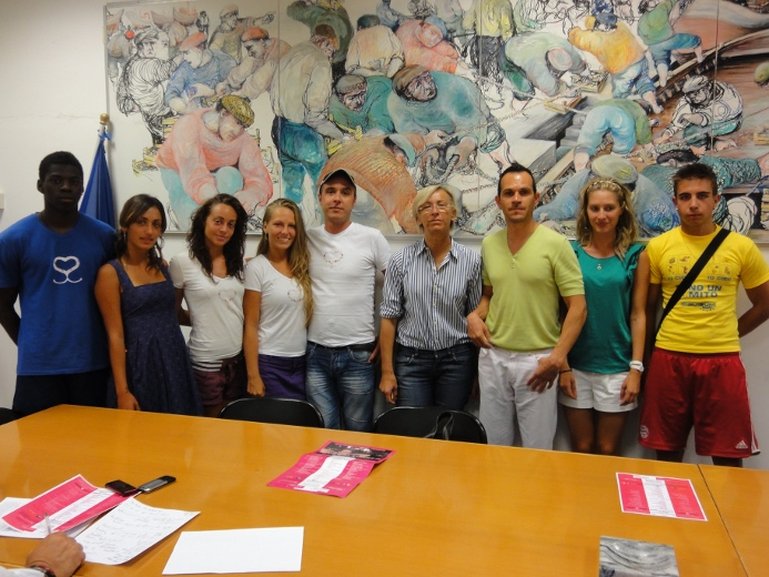 Margherita Sorge con gli organizzatori del Super Summer games