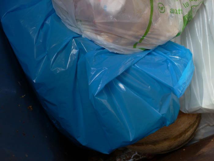 Umido, sacchetti di plastica nel bidone