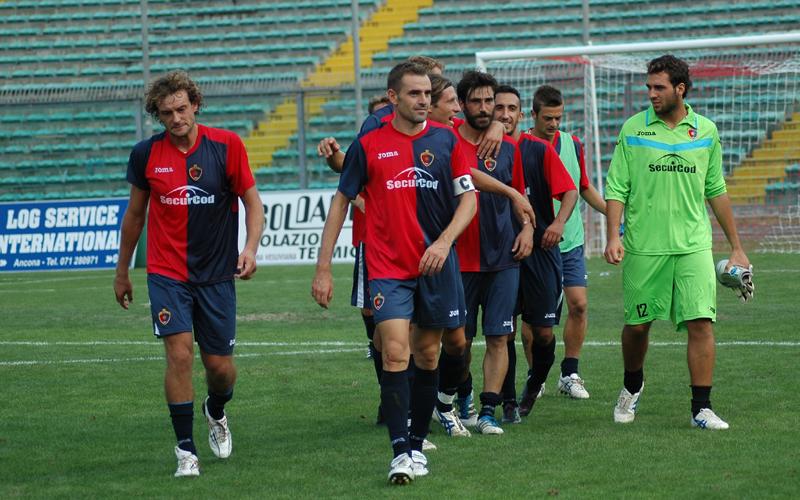 Ancona-Samb, Rulli, Mengo e Pazzi felici dopo la vittoria nella gara di andata (ph. Giammusso)