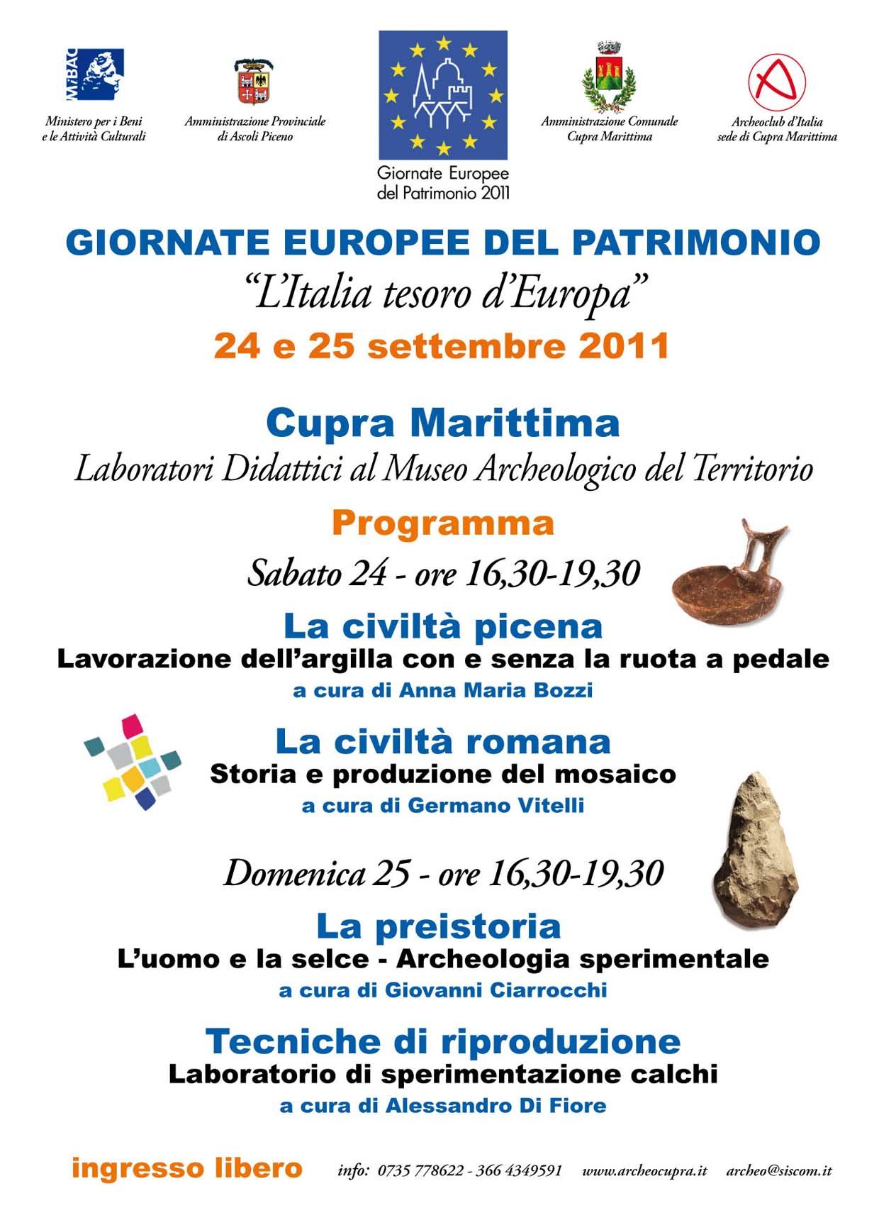 Museo aperto il fine settimana in occasione delle Giornate Europee del Patrimonio