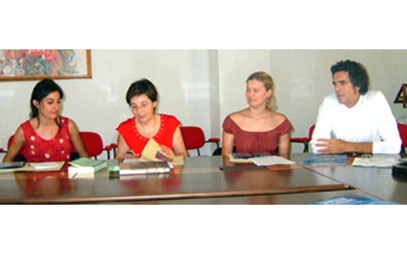 Pepi Morgia, a destra, durante una presentazione del Festival Sinfonie di Cinema