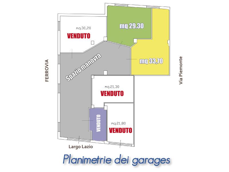 Planimetria garage in vendita in via Piemonte, a San Benedetto